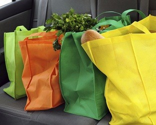 Colorful Reusable Bags and Car Seat