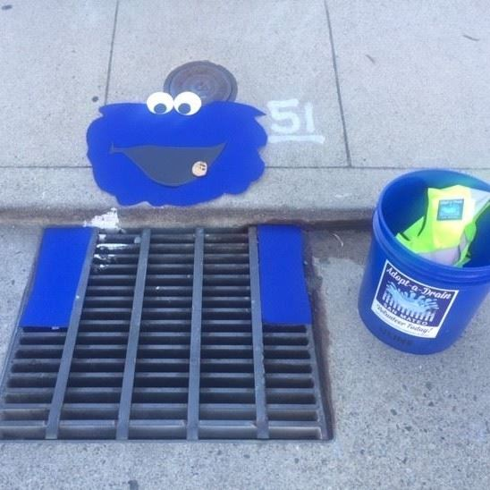 Cookie Monster design on drain