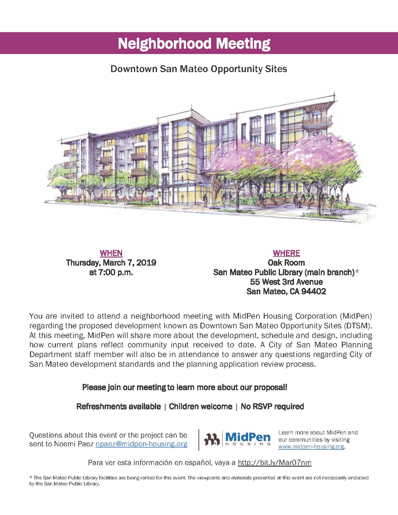 Downtown Opportunity Sites Neighborhood meeting March 7 Flyer ENGLISH