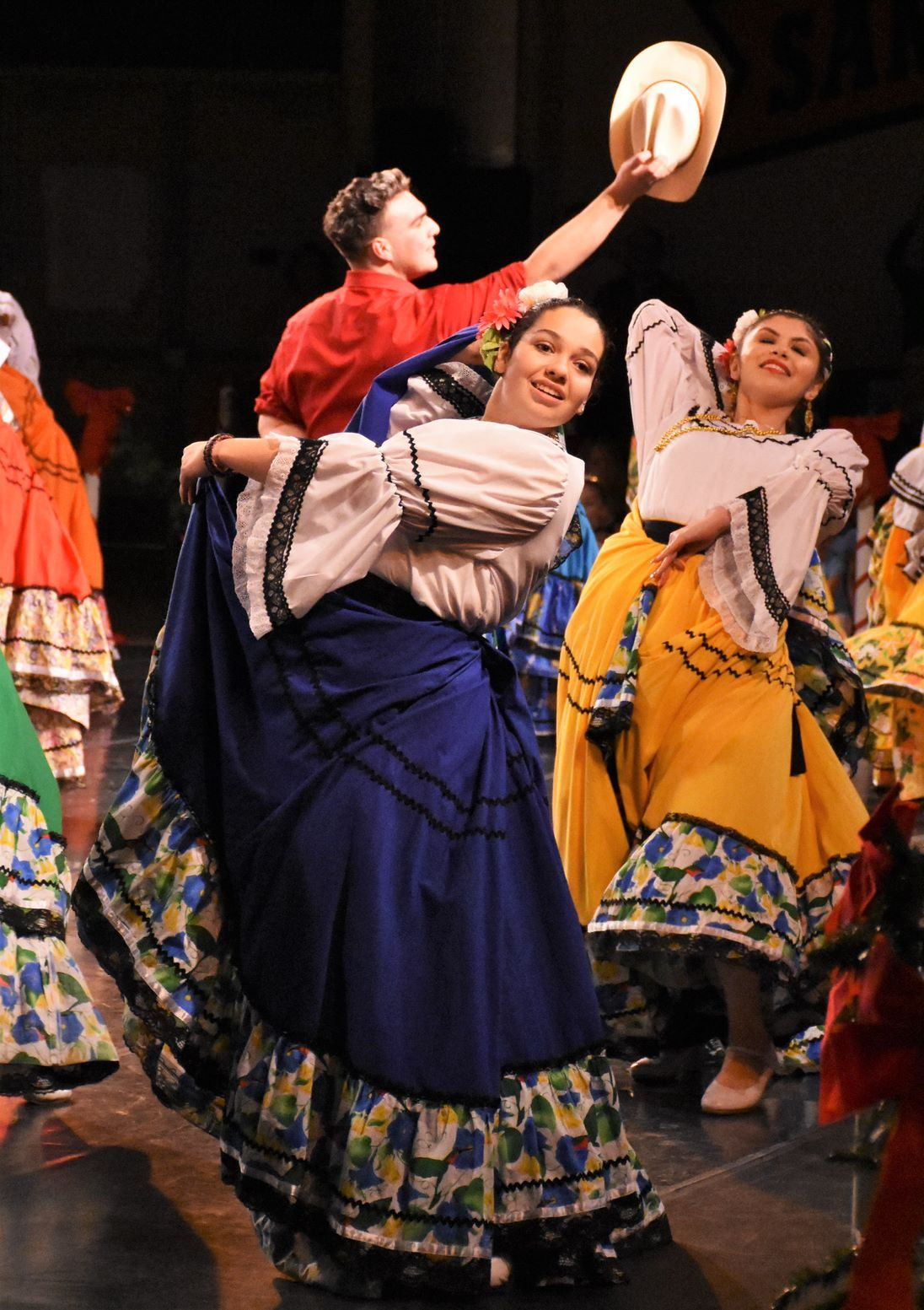 Photo of Mexican Folkloric dancers at the 2019 Holiday Festival of Dance.